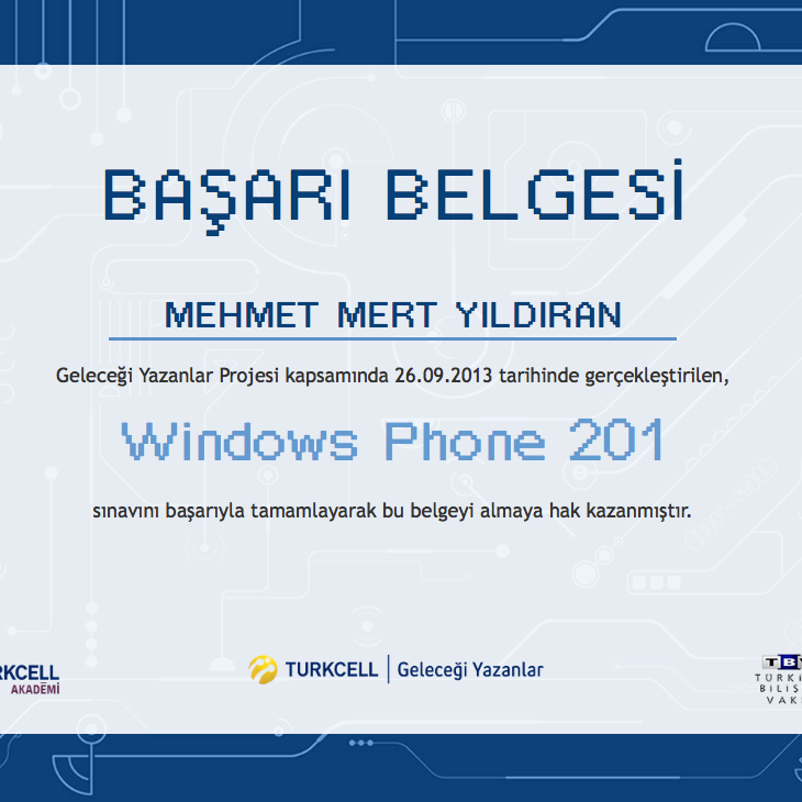 Windows Phone Certificate of Achievement