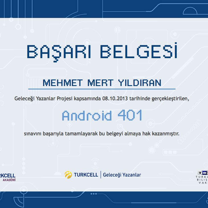 Android Certificate of Achievement